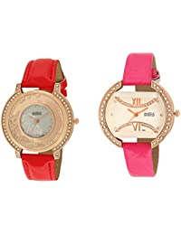 Faishinpro New Red And Pink Princess Dimond Casual Analog Watch For Girls And Women Combo Analog Watch - For Girls