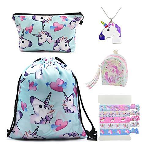 DRESHOW 5 Pack Cute Unicorn Kordelzug Rucksack/Make Up Bag/PU Geldbörse Clutch Taschen/Legierung Kette Halskette/Einhorn Haargummis