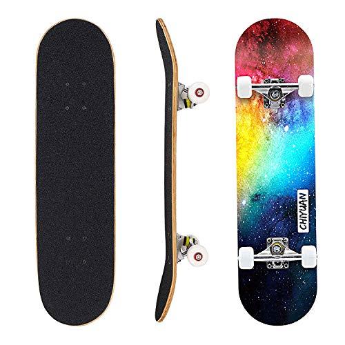 """Eseewin Skateboard 7 Ebenen Decks 31""""x 8"""" Pro Komplettes Skateboard Ahornholz Longboards für Jugendliche Erwachsene Anfänger Mädchen Jungen Kinder(Nebulae)"""