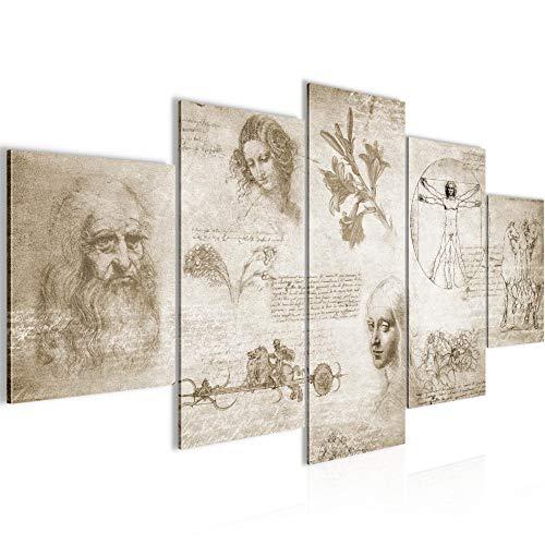 Bilder Werke von Leonardo Da Vinci Wandbild 200 x 100 cm Vlies - Leinwand Bild XXL Format Wandbilder Wohnzimmer Wohnung Deko Kunstdrucke Braun 5 Teilig - MADE IN GERMANY - Fertig zum Aufhängen 700451a