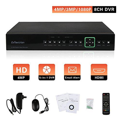 5mp-kamera Sicherheit (Evtevision 8 Kanal 4MP AHD DVR CCTV Sicherheit Digital Video Recorder Unterstützung 5MP/4MP/3MP AHD Kamera, P2P Cloud,E-Mail Alert mit Schnappschuss, Remote Smartphone Access (NO HDD))