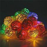 Jsmhh Weihnachtsdekor-Rattan-Kugel-Schnur-feenhafte Lampe Feiertags-Licht-Partei-Hochzeit Dekoration Weihnachtsbeleuchtung Garland (Color : Colorful)