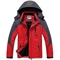 Memoryee Chaqueta Impermeable para Hombres Chaqueta Polar de Invierno Cálida Chaqueta de esquí A Prueba de Viento Bolsillos múltiples/Rojo/XL-Hombre