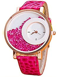 PRATHAM SHOP Pink Movable Diamond Beads With PINK Leather Belt Women Analogue Watch For Girls