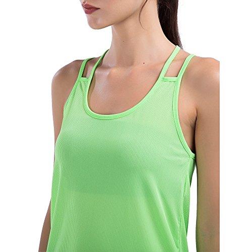 Sunny&Baby Canottiere da donna traspirante Athletic Vest Workout Running Gym Anti-rughe Jersey per le signore Confortevole ( Color : White , Size : M ) Green