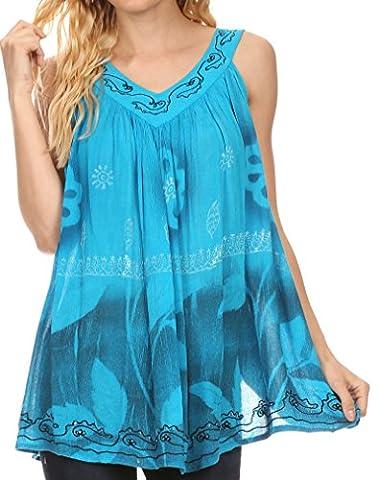 Sakkas S-4-85703 - Goregianna Long Embroidered Sequin Printed Batik Beaded Tank Top Blouse Top - Turquoise - OS