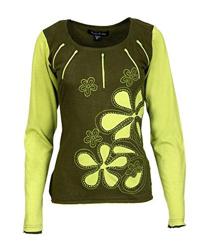 Damen Langarm Top Mit Rundhalsausschnitt Design -NEW CHAMELI Grün