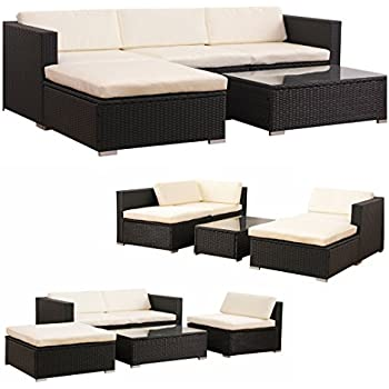 Amazon.de: POLY RATTAN Lounge Gartenset SCHWARZ Sofa Garnitur ...