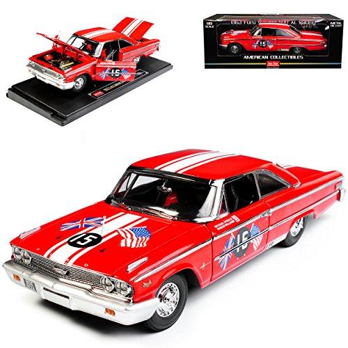 Sun Star Ford Galaxie 500 XL Racing Coupe Hard Top 1963 Rot 1/18 Modell Auto mit individiuellem Wunschkennzeichen