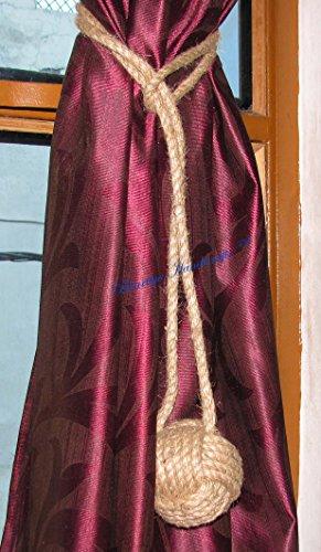 <b>Bhartiya Handicrafts © TM - Fermatenda in iuta, per tende, stile marino, per decorazioni da mare, spiaggia, confezione da 2 Natural Jute