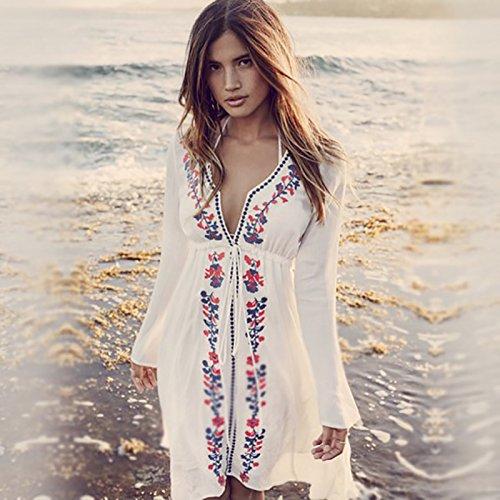 Europa und die rayon - Strand - bikini am Strand der Insel bluse kostüm Mantel sonnencreme kleidung badeanzug hemd U601 weiß MIT Schwarzen stickereien