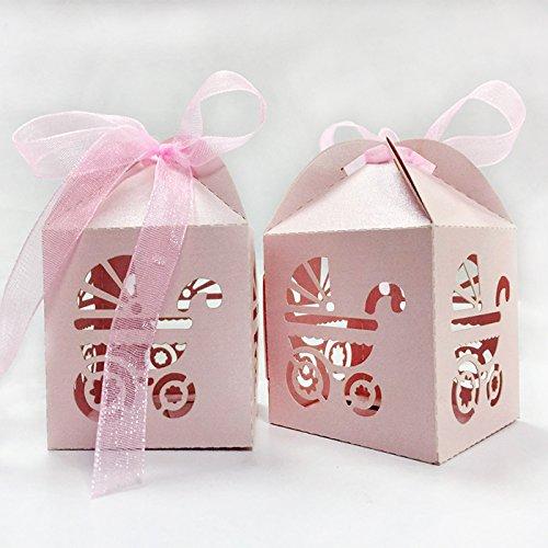 (lavinaya 50Stück Kreuz Laser geschnitten Candy Favor Box Taufe Baby Dusche Party Bonbonniere mit Bändern Gastgeschenken rose)