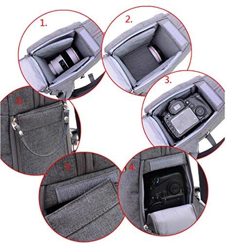 Z&HXFotografie Tasche SLR Kameratasche wasserdicht Multifunktions Schultertaschen Grey
