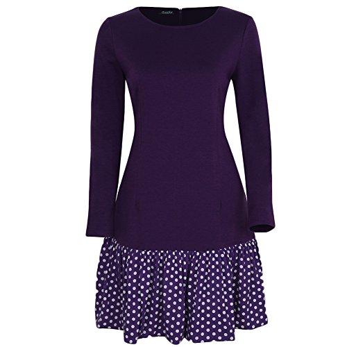 WintCo Damen Rock Party Büro Reise Fashion Rock wie 2 Stücke Rock mit Jacke 3 Farben Violett-2
