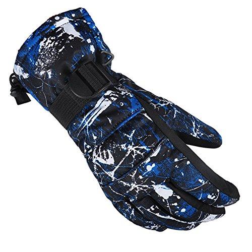 DOEUS Guantes de hombre para invierno, snowboard, moto, bicicleta, impermeable, caliente y a prueba del viento (L)