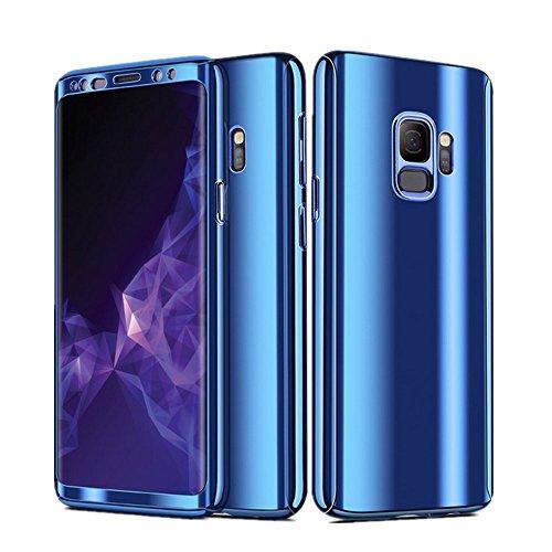 Hülle kompatibel mit galaxy S9/S9 Plus Hülle 3-Teilige Ultra-Dünne Hart Glatte Case Anti-Fingerabdruck Stoßfest Schutzhülle aus galvanisierenden Bumper für galaxy S9(Samsung galaxy S9, Blau) -