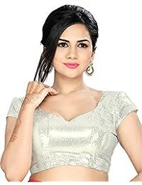 Studio Shringaar Party Silver Solid Short Sleeve Padded Blouse