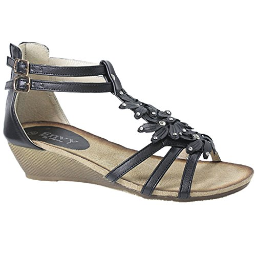 LADIES WOMENS GLADIATOR STRAPPY WEDGE SANDAL SUMMER EVENING DRESS PARTY SHOE DIAMANTE...