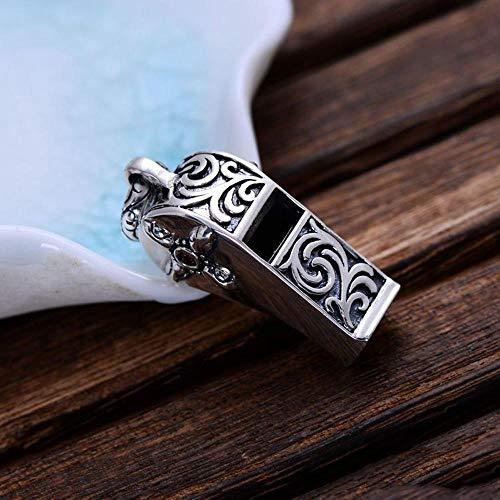 Yarmy S925 Sterling Silber Retro Fashion Carved Whistle Herrenanhänger Halskette Geschenk für liebe Menschen, Urlaubsgeschenk