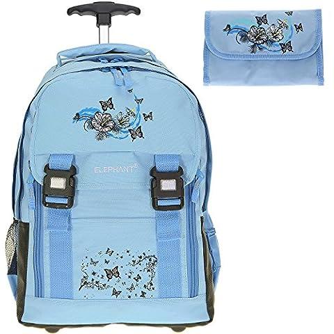 ELEPHANT Trolley Schultrolley Rucksacktrolley + Federmäppchen (Butterfly Hellblau)