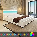 Vislone Lit avec LED Lit Double pour Adulte en Bois 200 x 160 cm Tissu Blanc