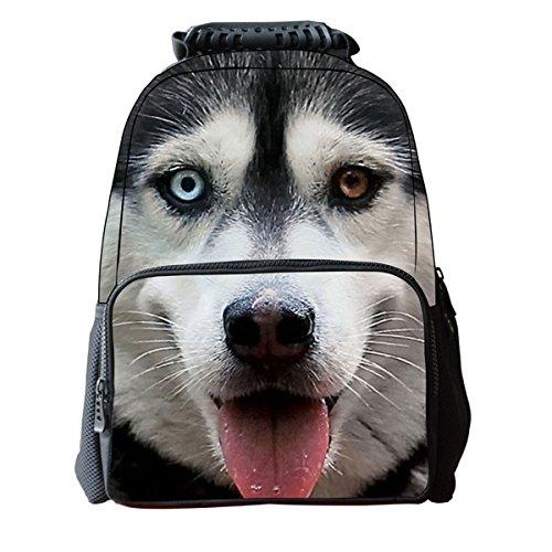 Imagen de niños niñas 3d perro animales print   bolso de escuela, talla única, siberian husky