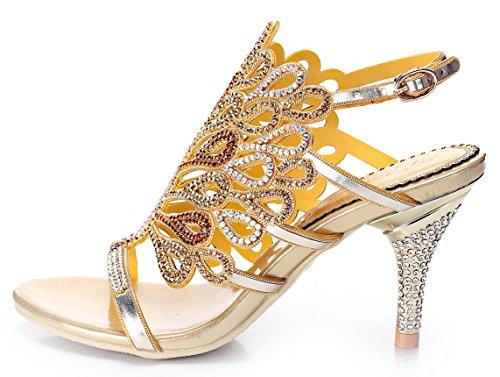 Honeystore Damen's Pfau geformt Pattern Handgemacht Strass Sandalen Gold