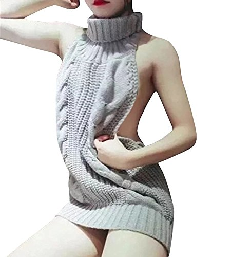 til Damen Cosplay Sweater Pullover Jumpsuit Turtleneck Strickpullover Backless (Halloween Datum Nacht 2017)