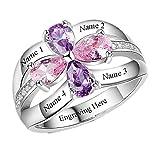 Anillo de plata 925 personalizado anillo de la madre simulación piedra natal nombre personalizado(base plateada 20)