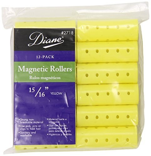Diane Magnetic Hair Rollers, Yellow, 15/16 Inch