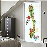 Adesivi per Porte 3D barca a vela Adesivo porta 3D interna cameretta specchio wall art bagno Applique Carta removibile PVC impermeabile vinile Decorazione Carta Da Parati 77X200CM