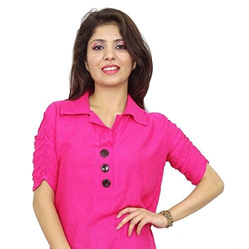 Rayon Tunika Frauen tragen traditionelle Sommer kurti indischen Freizeitkleidung Rosa