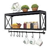 Amerikanischen Retro Schmiedeeisen Holz Küchenregale Wand Badezimmer Lagerregal Wohnzimmer Kaffeetasse Regal (schwarz)