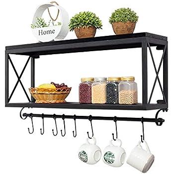 glamorous wrought iron kitchen wall shelves | DUOER-floating shelves American Retro Wrought Iron Wood ...