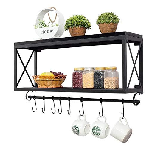 Schmiedeeisen-rahmen (ALX Vintage Schmiedeeisen Holz Küche Rahmen Wandmontage Badezimmer Lagerregal Wohnzimmer Kaffeetasse (schwarz) (größe : B))