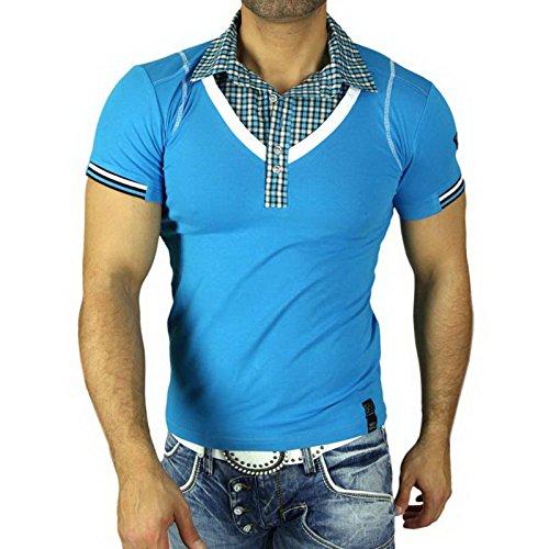 Rusty Neal Polohemd 5013 T-Shirt mit V-Neck gestreift Polo T-Shirt Hemd NEU Türkis