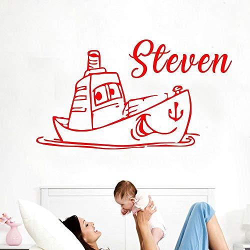 42 * 77cm Wall Sticker Schönes Boot mit niedlichem Gesicht Kindermädchen Name Custom Made Kids Room Fashion Remotable Wall Decal Poster DIY Decor -