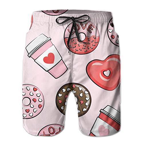 Ye Hua Donuts und Kaffee - Valentinstag - Rot, Pink, Schokolade auf Pink_272 Herren Boardshorts Badehose Surf Beach Holiday Party Badeshorts Strandhose L