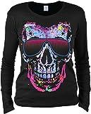 Motiv Damen Langarm-Shirt - Totenkopf Schädel Sonnenbrille - witziges Motivshirt als Geschenk Idee und stylisches Outfit, Größe:L