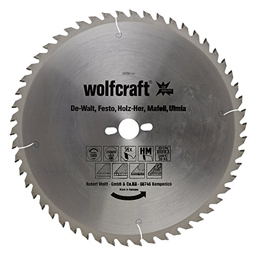Wolfcraft 6686000 HM-Kreissägeblatt, 54 Zähne Ø 350 x 30 x 3,5