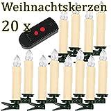SunJas 20 Set Warmweiss LED kerzen Lichterkette Weihnachtskerzen Kabellos Funk Fernbedienung Christbaumsdeko Weihnachten christmasParty (Beige)