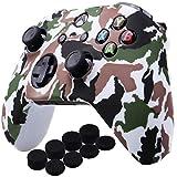 YoRHa Agua Transferir Impresión Camuflaje Silicona Cubrir la piel Caso para Xbox One X / One S Mando x 1 (blanco) Con empuñaduras PRO x 8