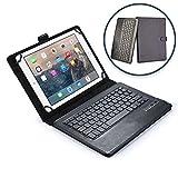 Cooper Cases(TM) Infinite Executive Universal Folio-Tastatur für 10,1' – 12' Tablets in Schwarz (Lederhülle, Standfunktion, elastisches Verschlussband, englische QWERTY-Tastatur)