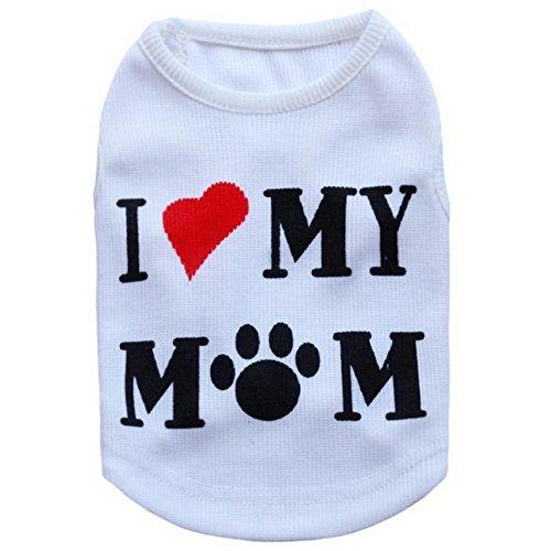 PanDaDa Kleine Haustier-Sommer-Kleidung, Laibao Baumwolle Breathable Hund-Sommer-Weste gedrucktes weiches weißes Sleeveless T-Shirt Katzen-Welpen-kühles Hemd-Kleidung