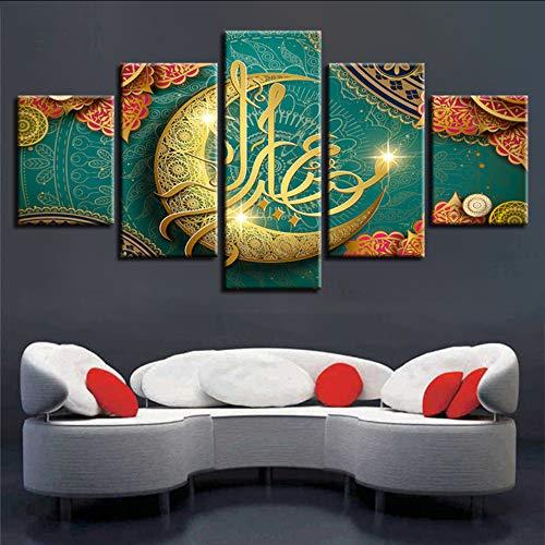 cmdyz (Kein Rahmen) Modulare Leinwand Wandkunst Poster 5 Stücke Islam Allah Der Koran Goldener Mond Bilder Hd Druck Muslim Gemälde Home Decor