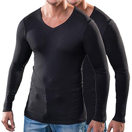 HERMKO 164680 2er Pack Herren langarm Shirt mit V-Ausschnitt aus Baumwolle / Modal Schwarz