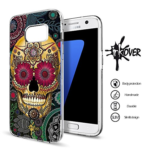 Custodia Cover Guscio Bumper Trasparente Slim Fit Tpu Gel Morbida INKOVER Design Teschio Messicano Teschi Messicani Colorati Tattoo per Samsung GALAXY S5