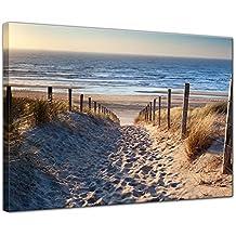 Leuchtturm Strand Sylt Düne Dünen Sand Zaun Wallario Premium Glasbild 50x50cm