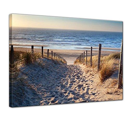 Wandbild - Schöner Weg zum Strand III - Bild auf Leinwand - 50x40 cm einteilig - Leinwandbilder - Urlaub, Sonne & Meer - Nordsee - Dünen mit Strandgräsern - Idylle - Erholung -