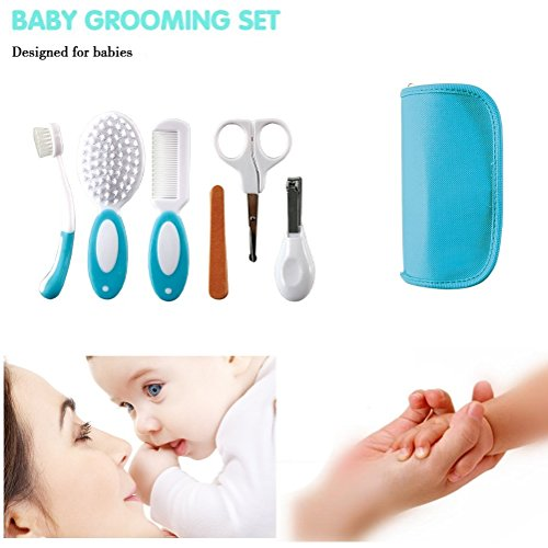 Baby Grooming Kit - Safe and Easy Personal 6 Piece Essential Grooming Kits Including Toothbrush, Hair Brush, Comb, Nail File Boards, Nail Scissors, Nail Clipper - Baby Care Kit By KARP